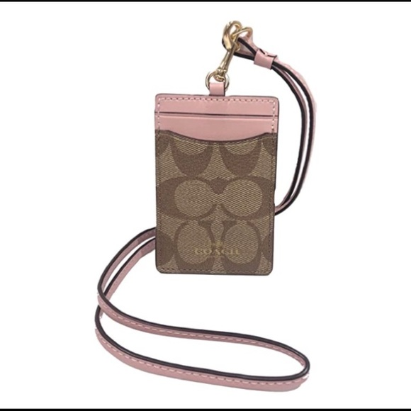 Coach Id Lanyard In Signature Canvas NWT